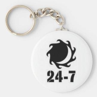 24-7+logotipo llavero redondo tipo pin