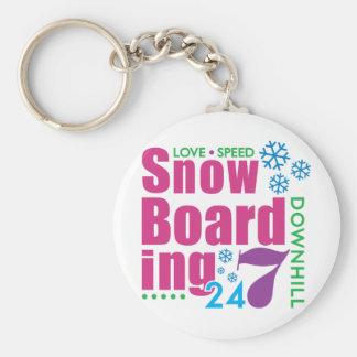 24/7 Snow Boarding Basic Round Button Keychain