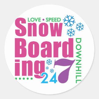24/7 Snow Boarding Classic Round Sticker