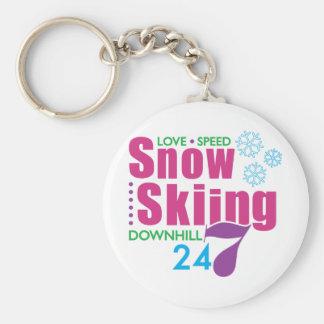 24/7 Snow Skiing Basic Round Button Keychain