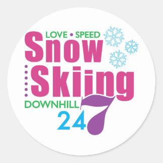 24/7 Snow Skiing Classic Round Sticker