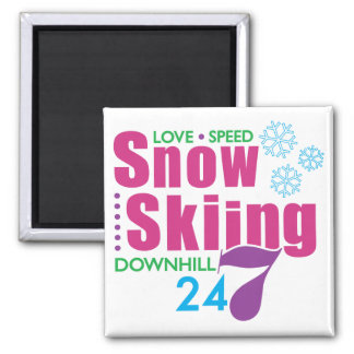 24/7 Snow Skiing Magnet
