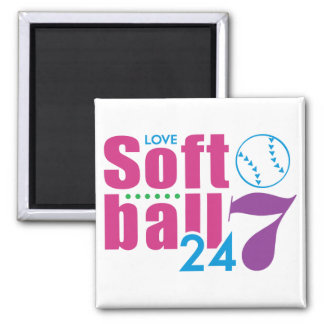 24/7 Softball 2 Inch Square Magnet