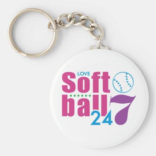 24/7 Softball Basic Round Button Keychain
