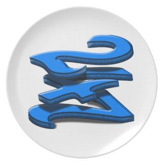 24 7 -  Twenty-Four Seven - Blue Text Dinner Plate