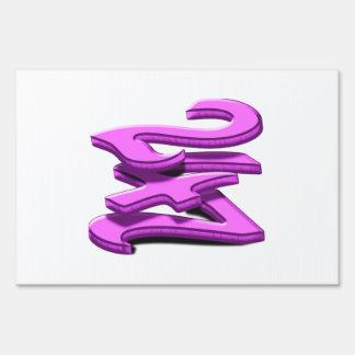 24 7 -  Twenty-Four Seven -  Pink Text Lawn Signs