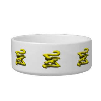 24 7 -  Twenty-Four Seven -  Yellow Text Cat Water Bowl