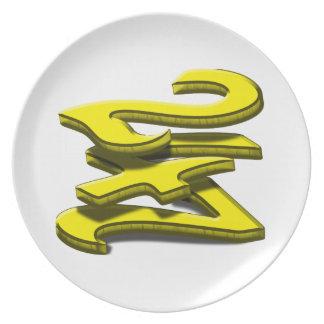 24 7 -  Twenty-Four Seven -  Yellow Text Dinner Plate
