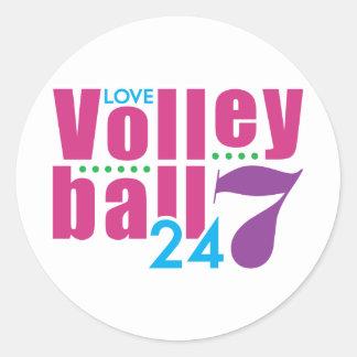 24/7 voleibol pegatina redonda