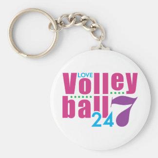 24/7 Volleyball Basic Round Button Keychain