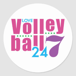 24/7 Volleyball Classic Round Sticker