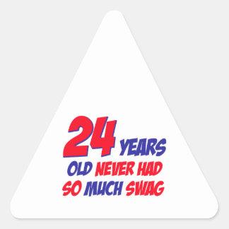 24 años de diseño del cumpleaños pegatina triangular