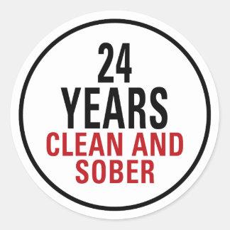 24 años limpian y calman pegatina redonda