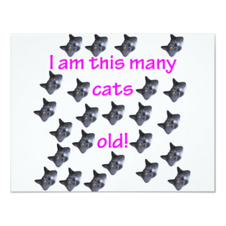 24 Cat Heads Old 4.25x5.5 Paper Invitation Card