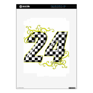 24 checkers flag number yellow iPad 2 decal