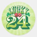24 dados y tréboles afortunados - pegatinas pegatina redonda
