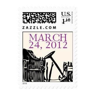24 de marzo de 2012 monograma con el coche antiguo timbre postal