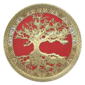 [24] Golden Celtic Tree of Life Dinner Plate