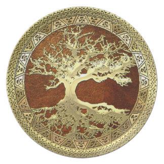 [24] Golden Celtic Tree of Life Melamine Plate