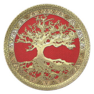 [24] Golden Celtic Tree of Life Party Plate