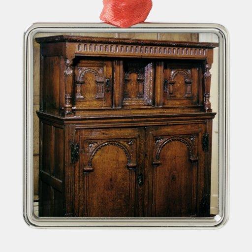 24:Hall cupboard, oak, c.1600 Square Metal Christmas Ornament