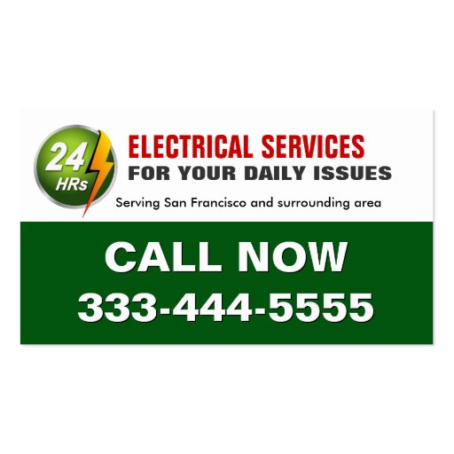 24 Hour Electrician Electrical Power Lighting Business Card Templates (front side)