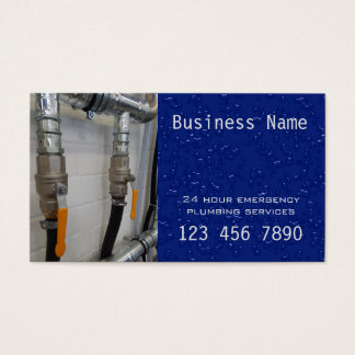 24 hour emergency plumber business card