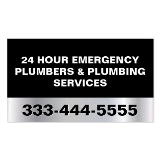 24 HOUR EMERGENCY PLUMBERS & PLUMBING SERVICES Double-Sided STANDARD BUSINESS CARDS (Pack OF 100)