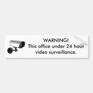 24 hour surveillance sticker car bumper sticker