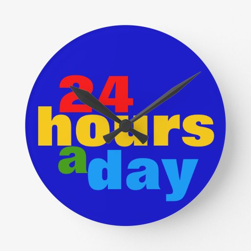 24 hours a day wallclocks