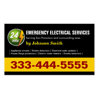 24 Hours Emergency Electrical Service - Two Sided Business Card Templates