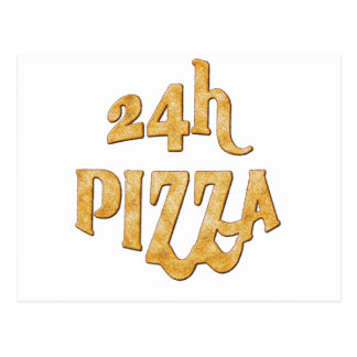 24 hours pizza postcard