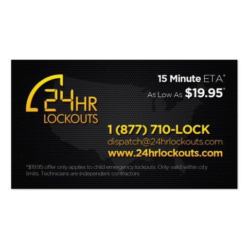 24 Hr Lockouts Business Card