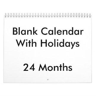24 meses de calendario en blanco con días de