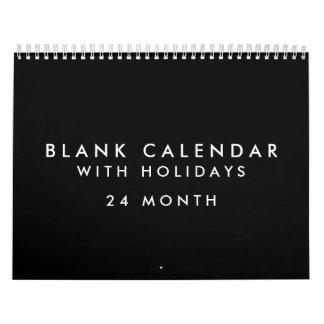 24 meses de calendario negro en blanco con días de