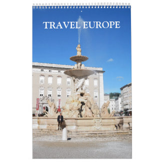 24 month Travel Europe Single Page Calendar