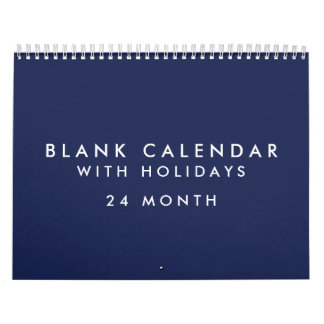 24 Months Blank Blue Calendar With Holidays
