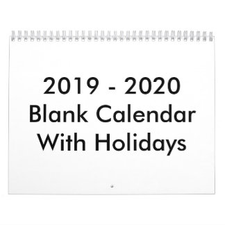 24 Months Blank Calendar 2019 - 2020 With Holidays