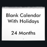 """24 Months Blank Calendar With Holidays<br><div class=""""desc"""">In 24 months Blank Calendar with holidays you can find customizable text on front page and United States events and holidays are added too.</div>"""