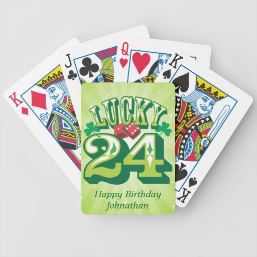 24 personalizados afortunado baraja cartas de poker