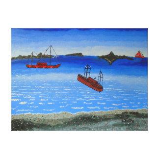 """24"""""""" pintura al óleo del tamaño x18 del """"puerto impresiones en lona estiradas"""