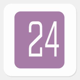 #24 Purple Square Square Sticker