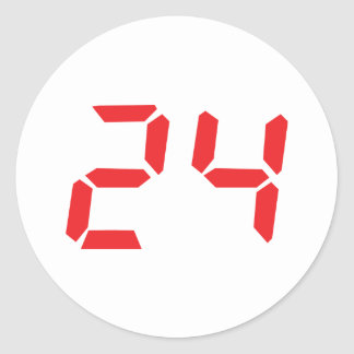 24 twenty-four red alarm clock digital number classic round sticker