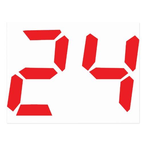 24 twenty-four red alarm clock digital number postcard | Zazzle: www.zazzle.com/24_twenty_four_red_alarm_clock_digital_number...