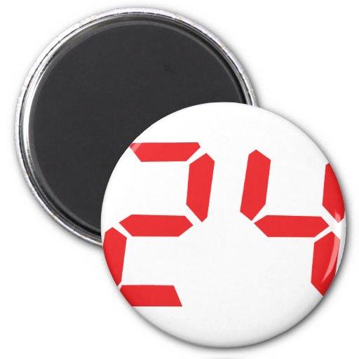 24 veinticuatro números digitales del despertador  imán redondo 5 cm