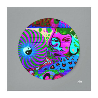 24 x 24 COLORFUL YING YANG ARTISTIC CANVAS