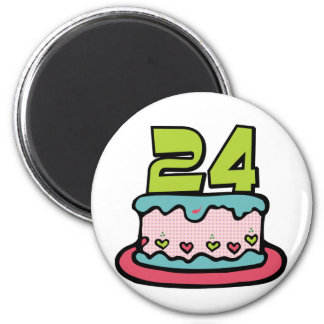24 Year Old Birthday Cake Magnet