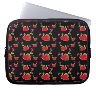 24jpg RED HEART VINES LOVE HOT PINK YELLOW GREEN B Laptop Computer Sleeves