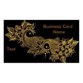 24kt-Mehndi-floral-Business Card Double-Sided Standard Business Cards (Pack Of 100)