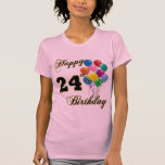 24ta camiseta feliz del globo del cumpleaños